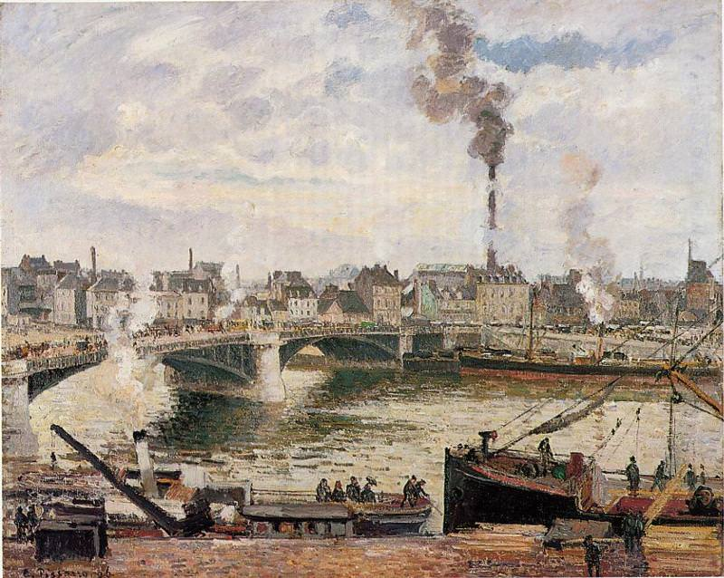 The Great Bridge Rouen by Camille Pissarro